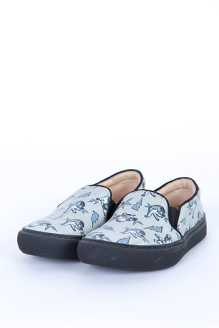 FIGHTING CAT GREY SLIP-ON