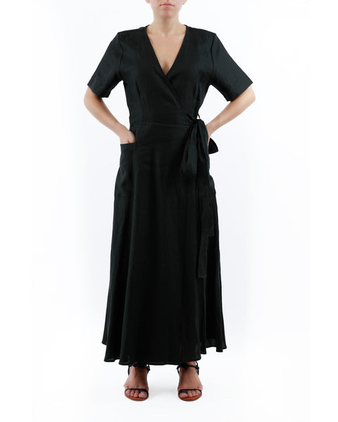 BLACK CORFU DRESS