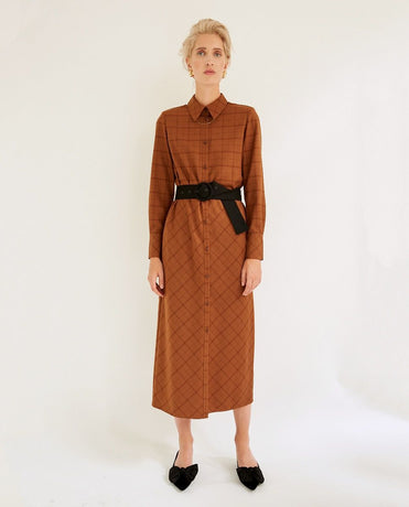 BROWN CHECK AYA DRESS