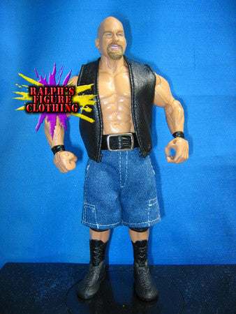 Steve Austin Black Vest and Blue Denim Pants
