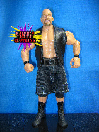 Steve Austin Black Vest and Black Denim Pants