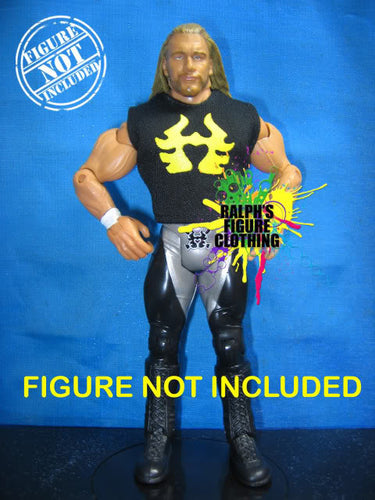 Triple H Black Shirt with Yellow Print