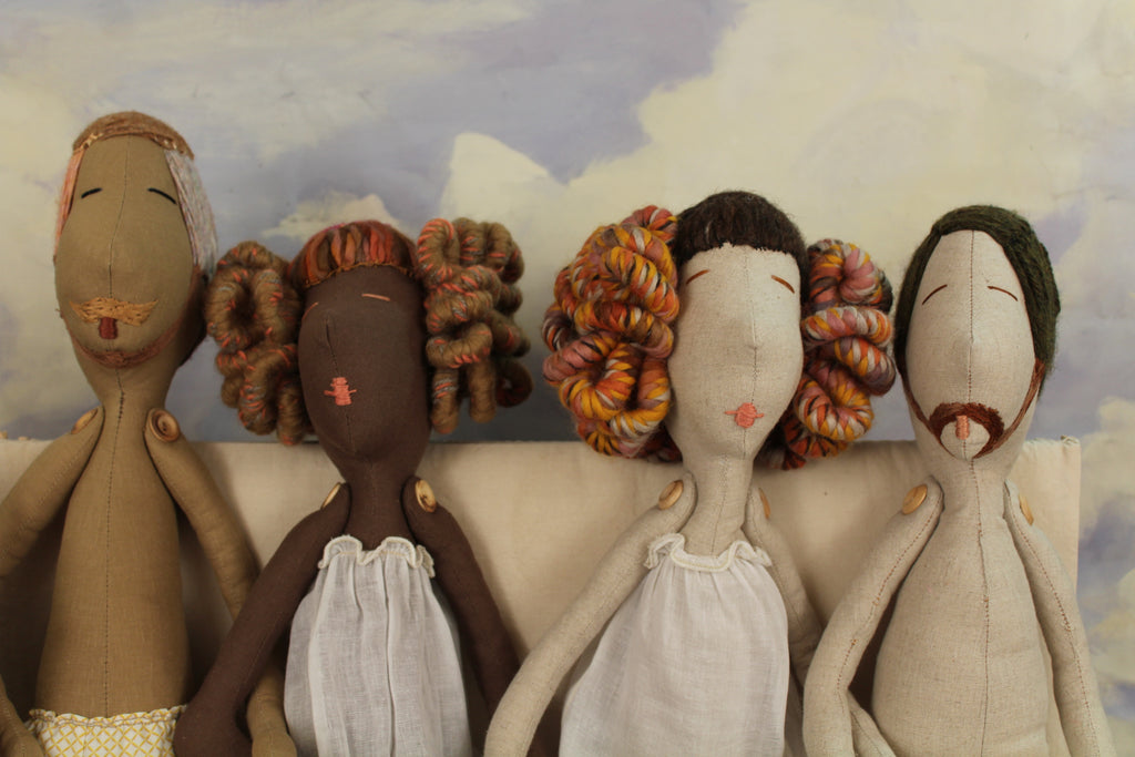 Handmade Couture Rag dolls, earth tones by Brownstone Playhouse