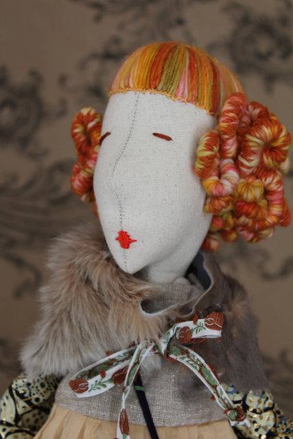 handmade couture rag doll, Brownstone Playhouse