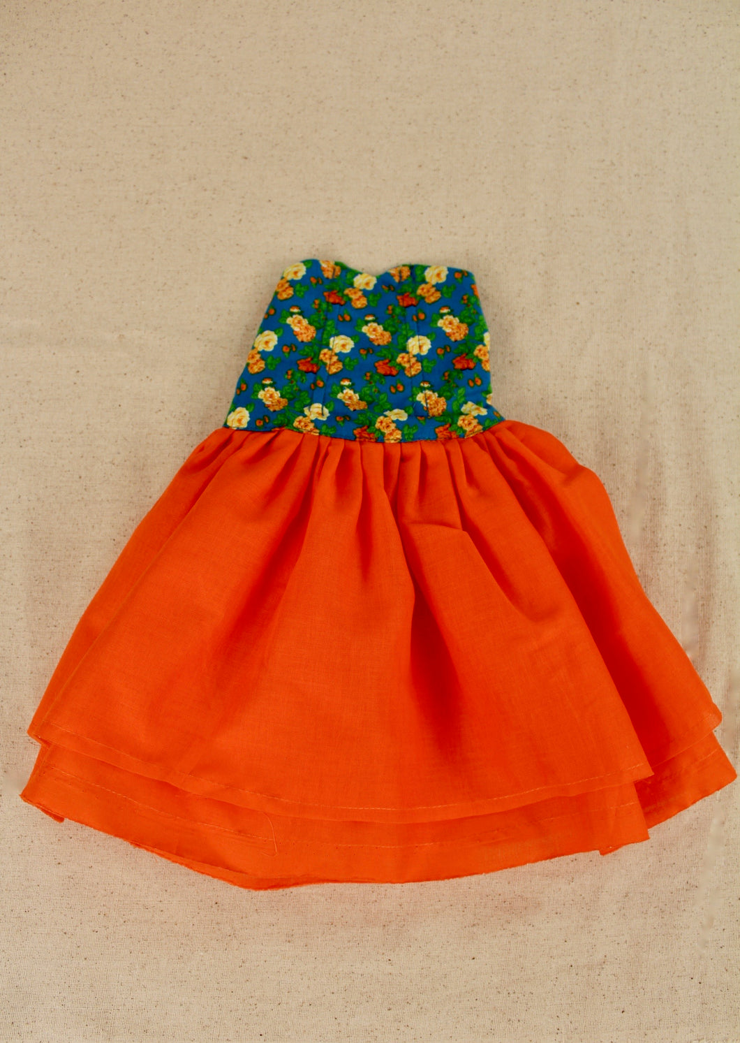 Crushed Gathered Seville Orange Dress