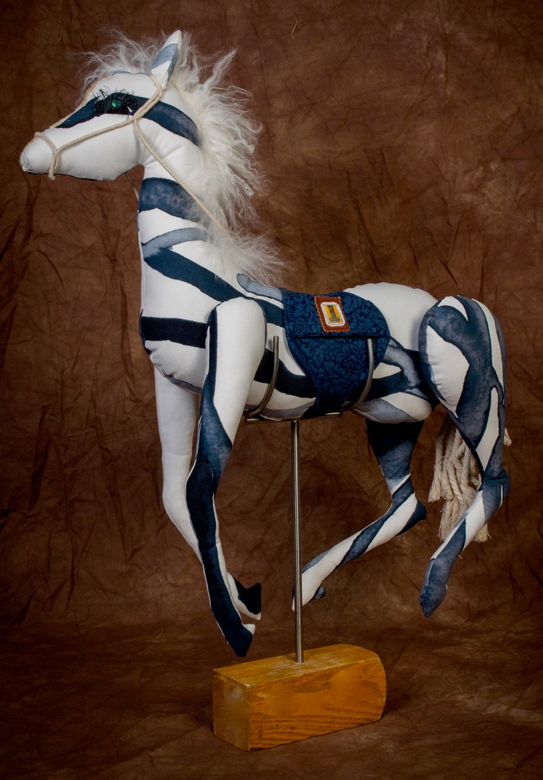 Blue & White Striped Mustang /Large