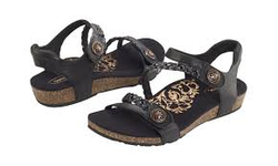 Aetrex Jillian Adjustable Quarter Strap Sandal Black