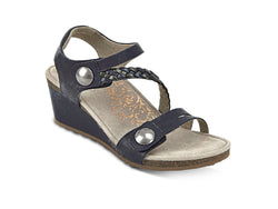 Aetrex Naya Braided Quarter Strap Wedge Sandal - Navy