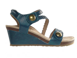 Aetrex Naya Braided Quarter Strap Wedge Sandal - Dark Teal