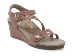 Aetrex Naya Braided Quarter Strap Wedge Sandal - Blush
