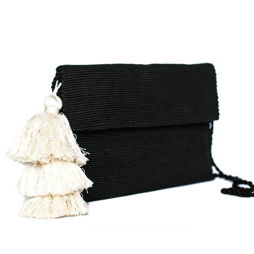 Black Cotton Clutch Bag