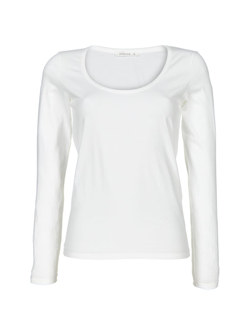 Long sleeve U-neck top | White