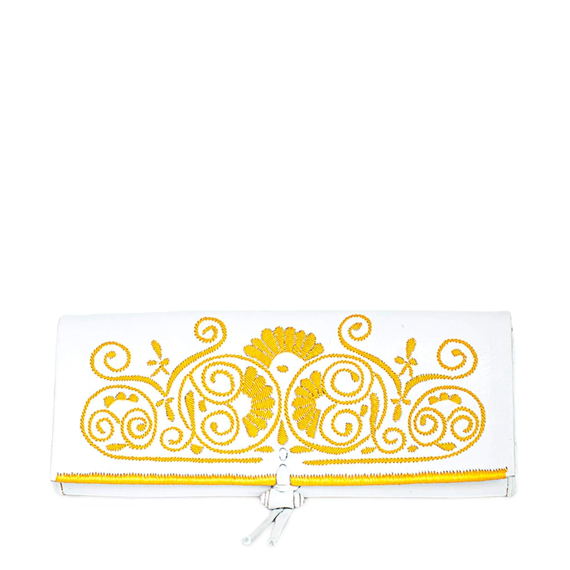 Embroidered Leather Clutch Bag