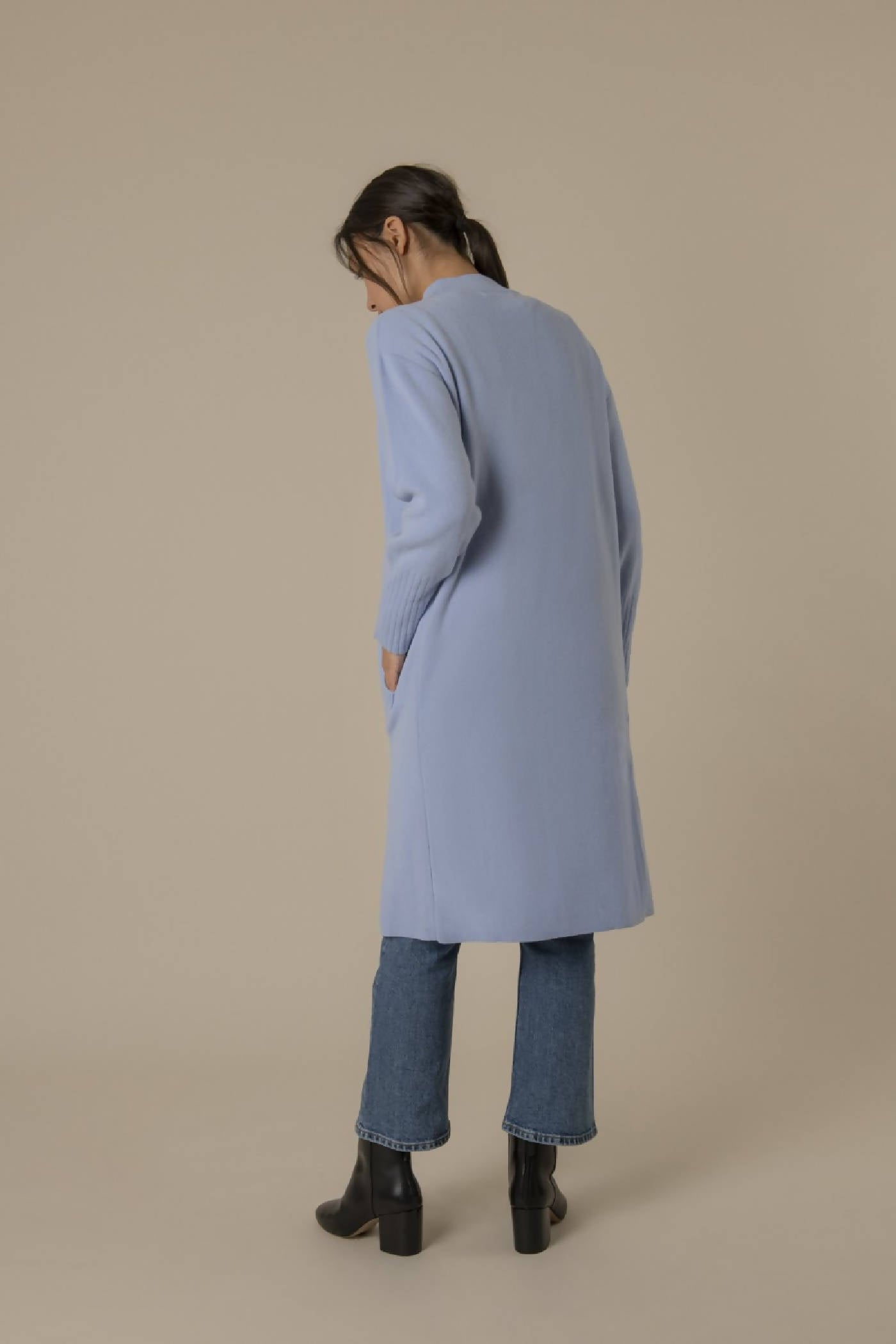 Long cardigan in a smooth cashmere blend with a beautiful sky-blue color
