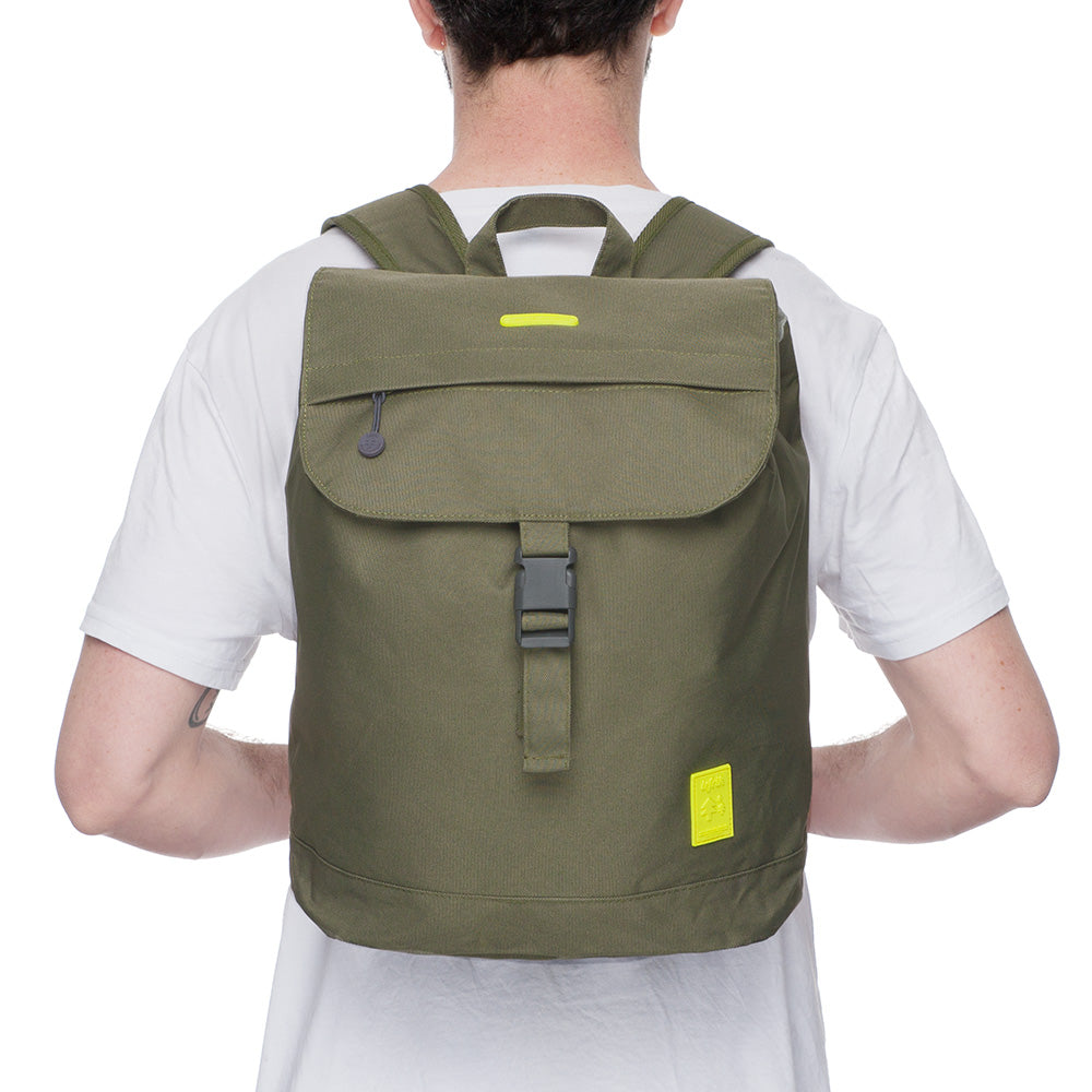 Eco Flap Backpack Small | Olive | Accessories | Lefrik | [product_tag] - Fair Bazaar Ethical Living