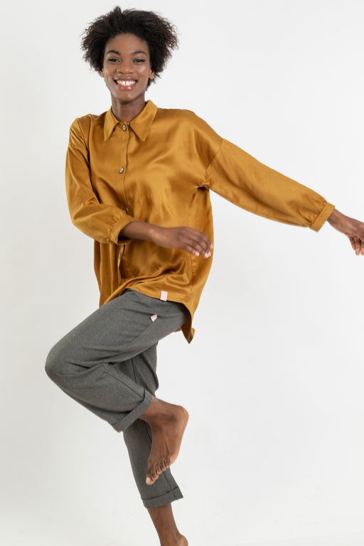 Lyocell Shirt | Mustard | Tops | Näz | [product_tag] - Fair Bazaar Ethical Living