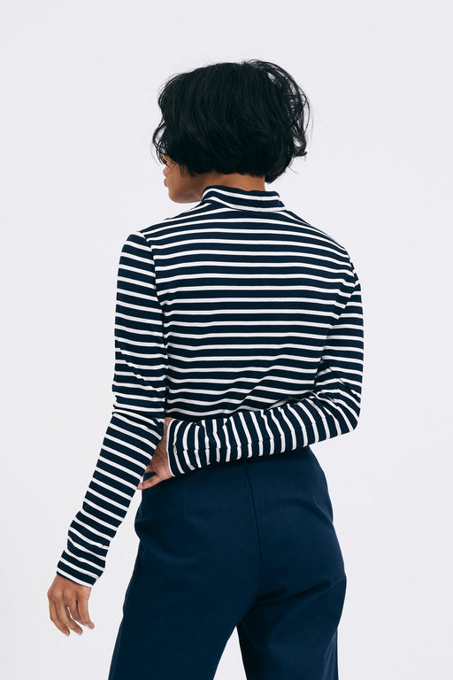 Striped Turtleneck | Navy