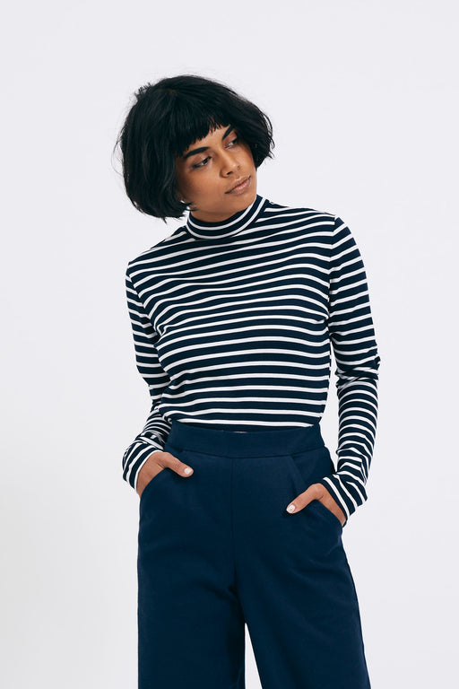 Striped Turtleneck | Navy | Tops | Shio | [product_tag] - Fair Bazaar Ethical Living