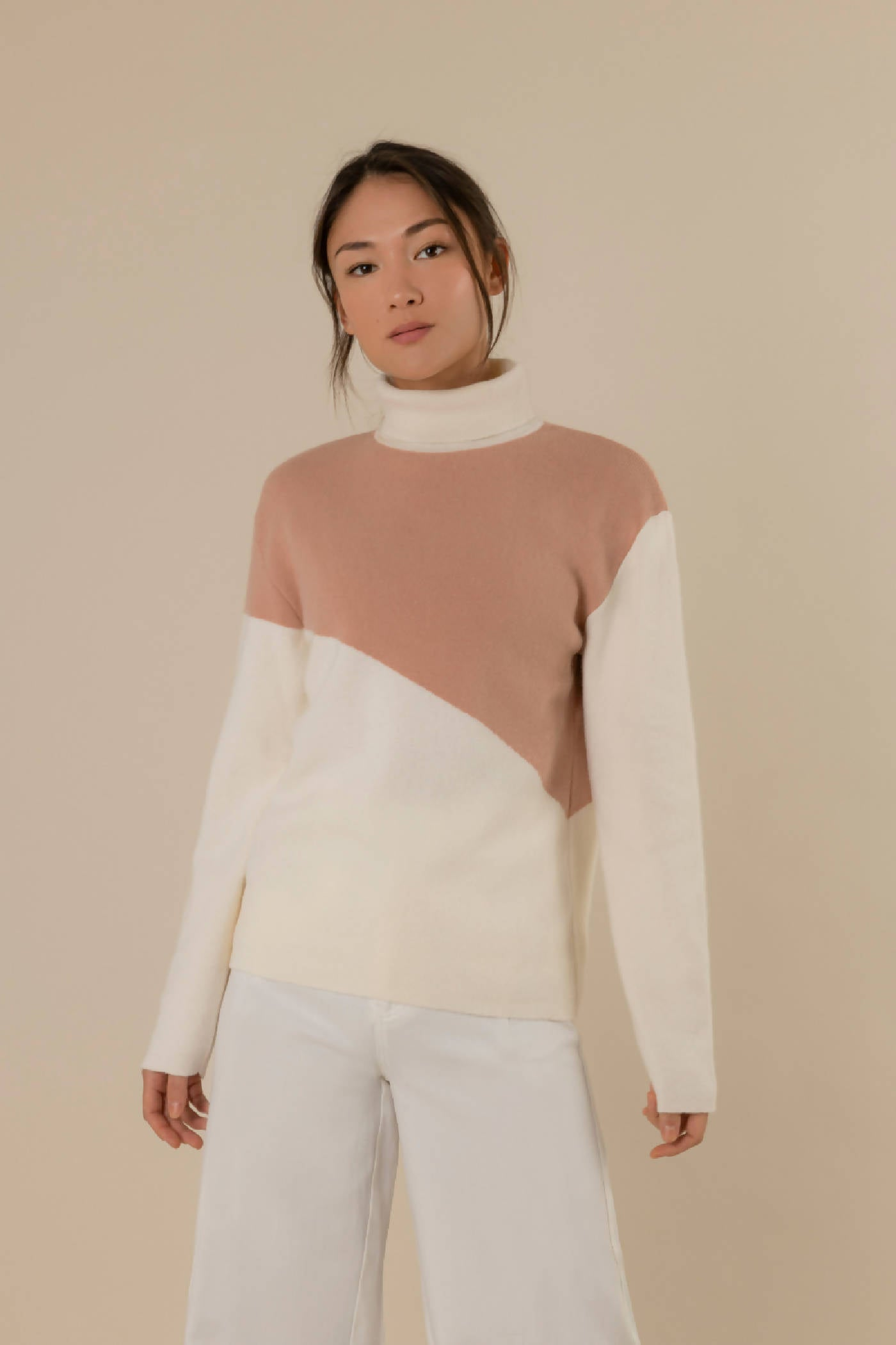 Rusty rose and white rollneck sweater