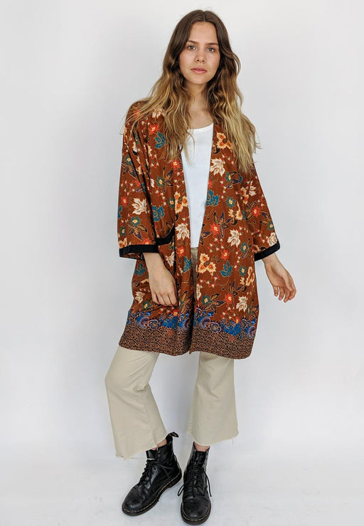 Floral Kimono Brown | Coats & Jackets | Malimo | [product_tag] - Fair Bazaar Ethical Living