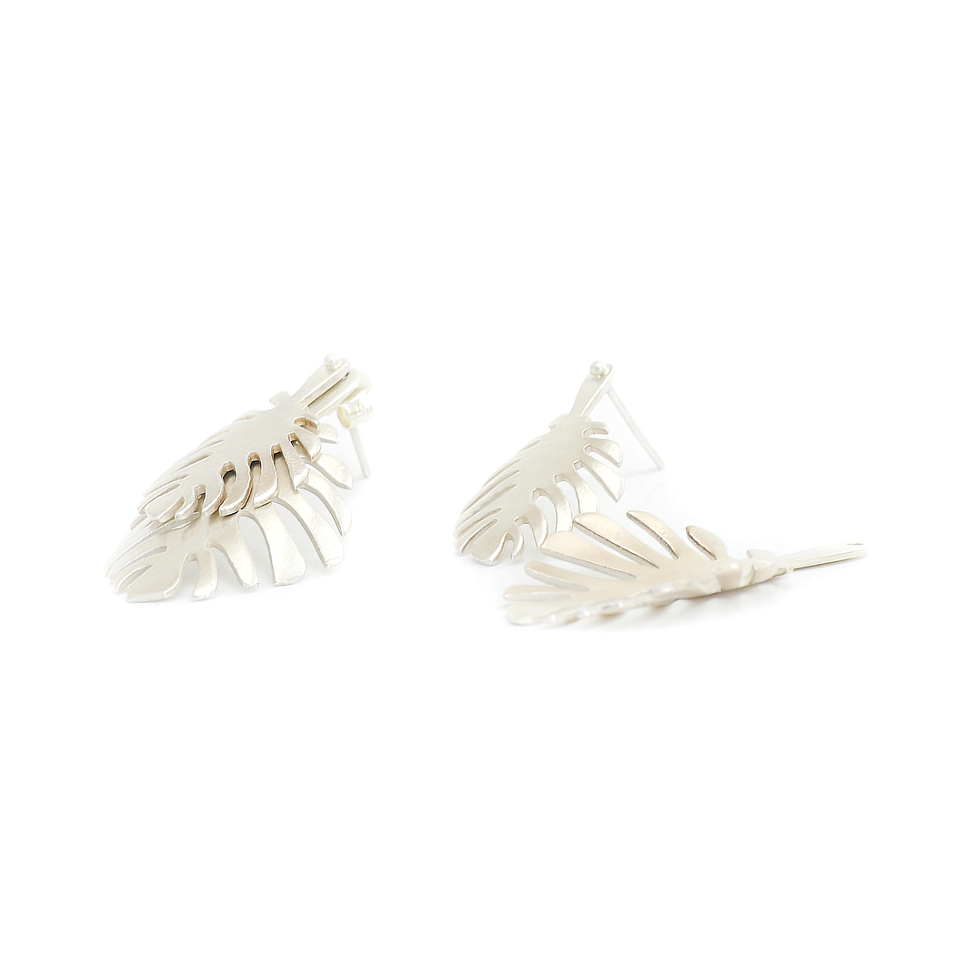 Monstera Silver Earrings | Accessories | Tundra | [product_tag] - Fair Bazaar Ethical Living