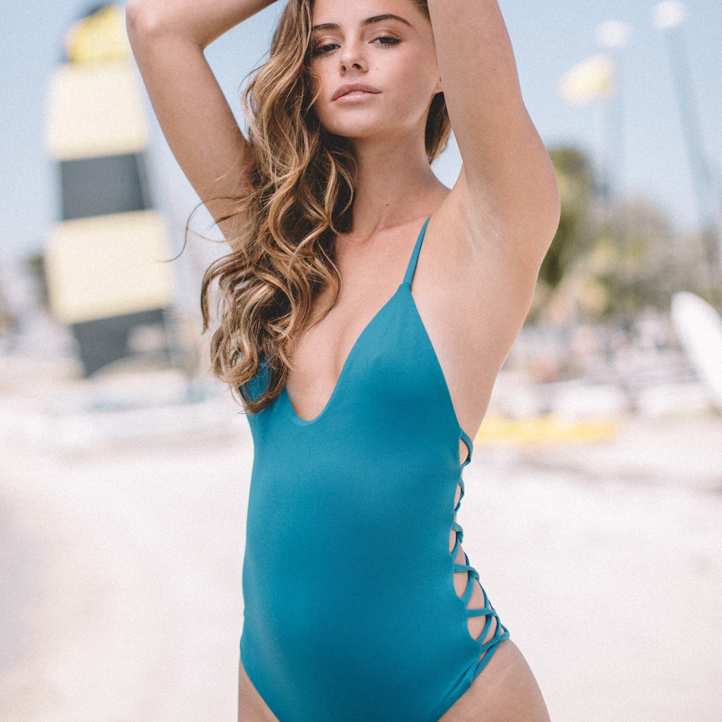 Maze One-Piece in Atlantic Blue | Beachwear | Tuhkana Swimwear | [product_tag] - Fair Bazaar Ethical Living