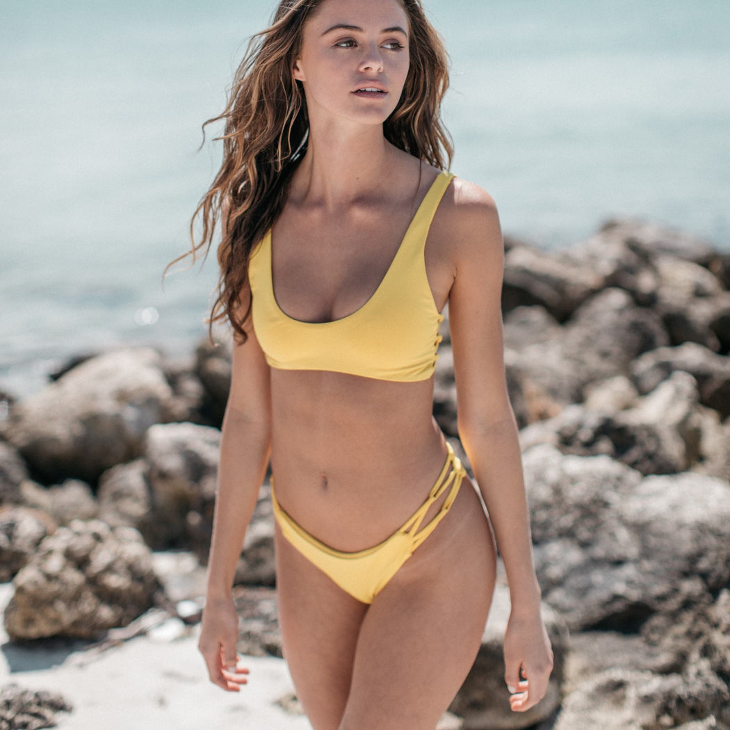 Tangled Bikini Bottom in Banana | Beachwear | Tuhkana Swimwear | [product_tag] - Fair Bazaar Ethical Living