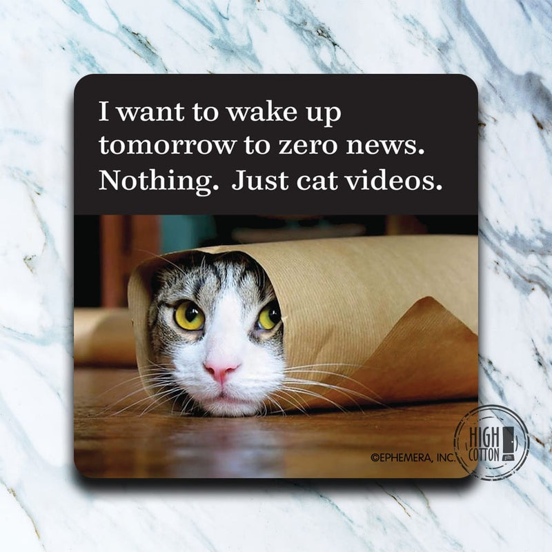 Nothing. Just Cat Videos Funny Coaster Coasters