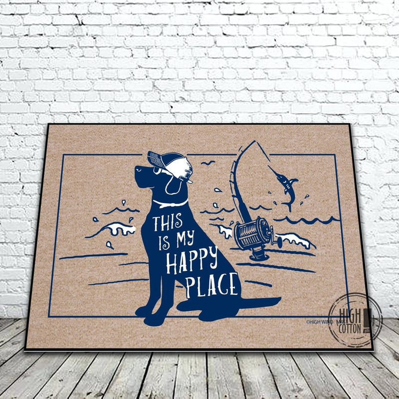 This Is My Happy Place Dog Fishing Doormat Doormats