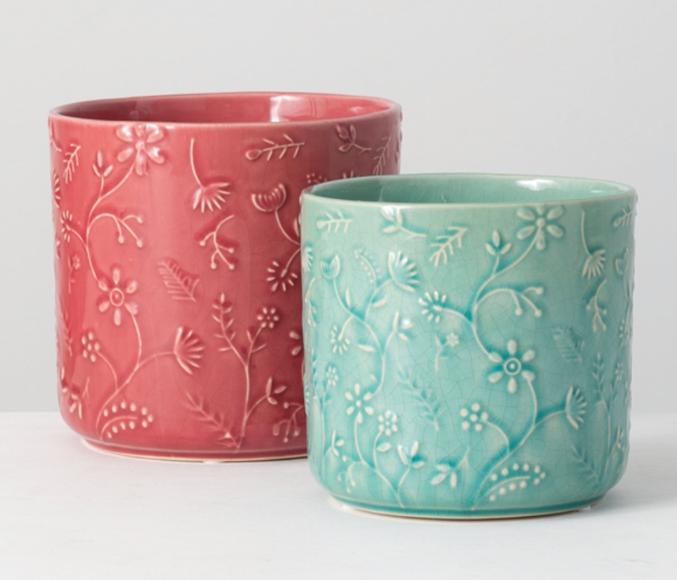 Floral Relief Flower Pots