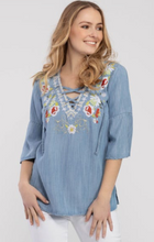 Embroidered Bell-Sleeve Tunic (Chambray)