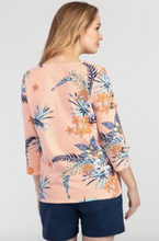 Tropical Pattern Shirt with Eyelets (Tangerine)