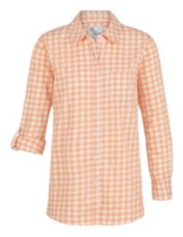 **NEW** Gingham Tunic Shirt with Side Slits (Tangerine)