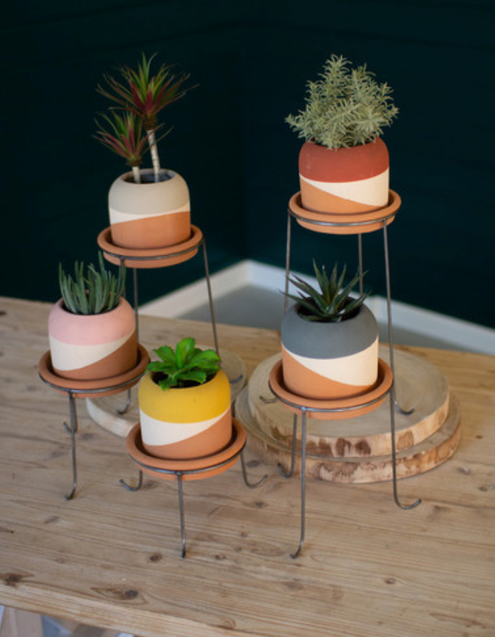 Multi-Colored Dipped Clay Pots with Metal Bases