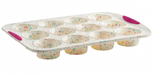 Structure Silicon 12 Count Muffin Pan in White Confetti