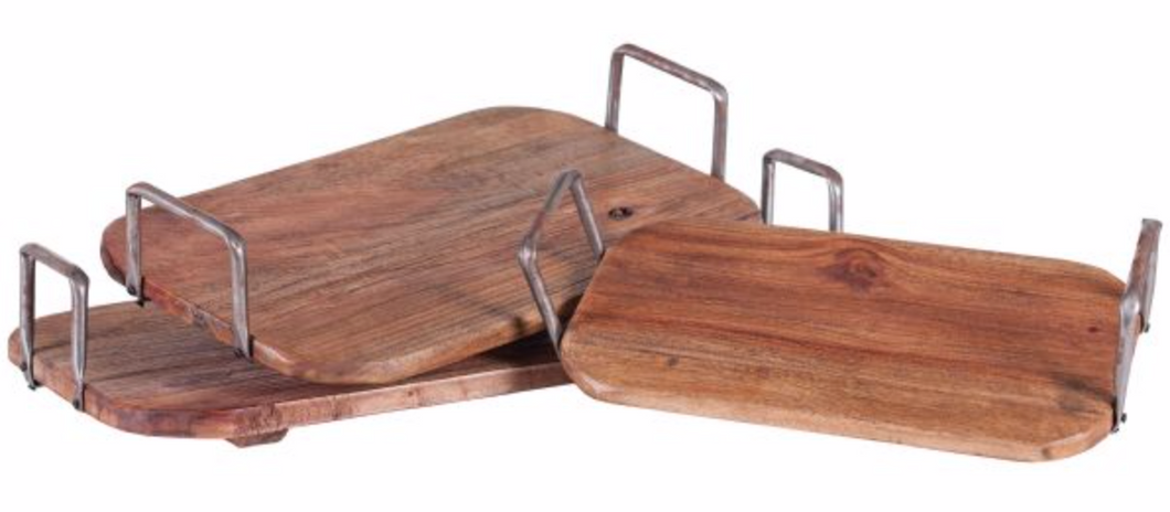 Rectangular Reclaimed Wood Tray with Metal Handles