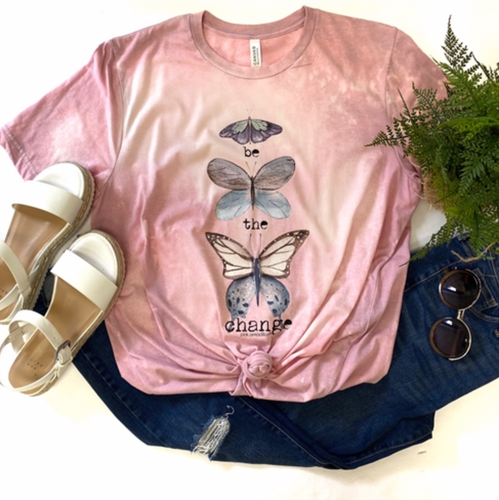 Be the Change Butterfly Bleached Vintage Boyfriend Tee