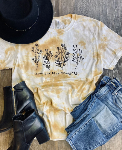 Grow Positive Thoughts Antique Crinkle Tie Dye Tee