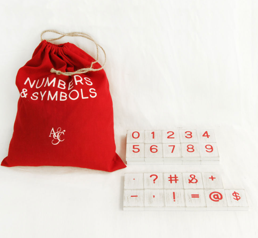 Lollipop Numbers & Symbols Bag of 30 Pieces in White & Red