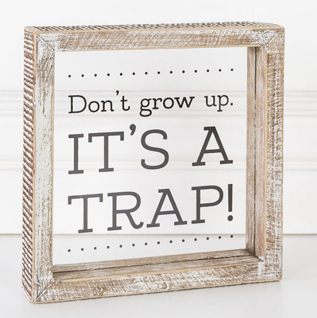 Don't Grow Up, It's A Trap Wooden & Glass Sign