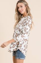 Leopard Bubble Sleeve Top