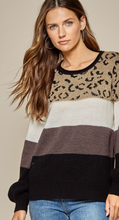 Color Block Leopard Combo Sweater