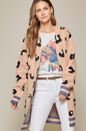 **NEW** Dusty Pink Leopard Cardigan