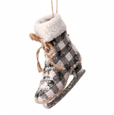 Frosted Country Check Skate Ornament