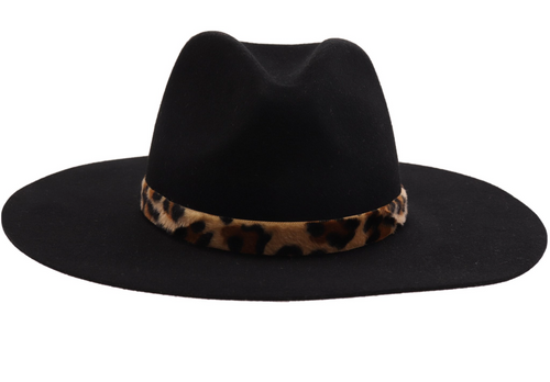 Leopard Trim Wool Hat