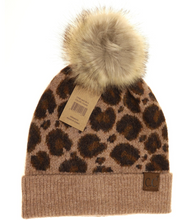 **NEW** Leopard Pattern Faux Fur Pom Beanie