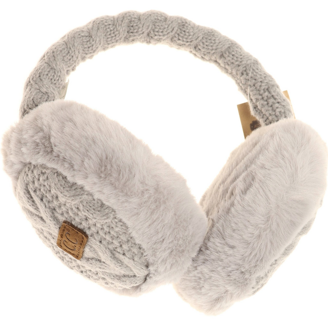 **NEW** Cable Knit Faux Fur Earmuff