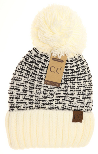 Tweed Knit Pom Beanie