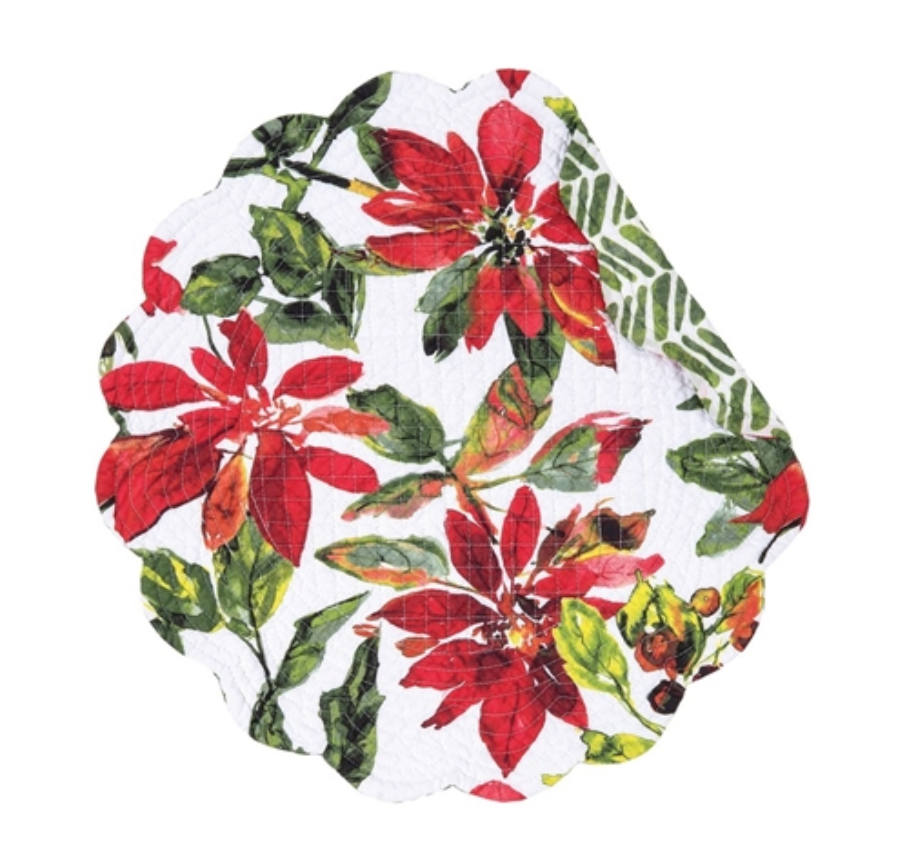 Poinsettia Berries Round Placemat