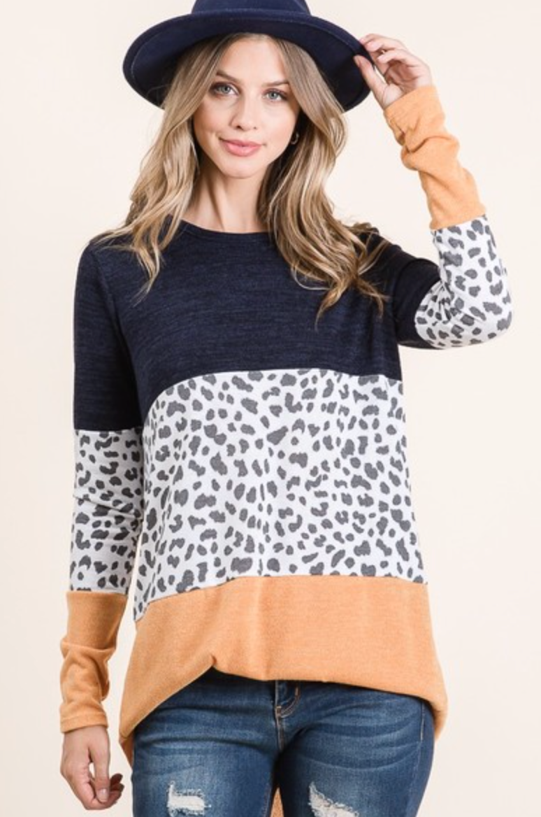 **NEW** Animal Color Block Pullover